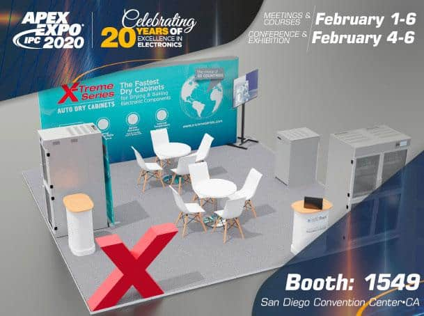 IPC APEX EXPO 2020 X-Treme Series Auto Dry Cabinets Booth